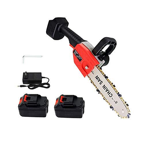 Refaa Motosierra portátil inalámbrica, Sierra de podar eléctrica de 8 Pulgadas para Cortar Madera, con 2 Paquetes de baterías, Rojo, 800 W, 1,65 kg de Peso Ligero