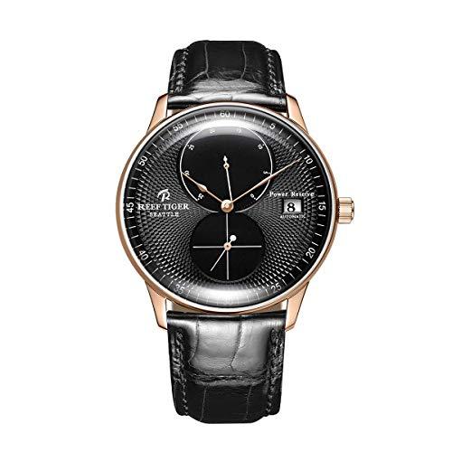 REEF TIGER Herren Uhr analog Automatik mit Leder Armband ORGA82B0-PBB