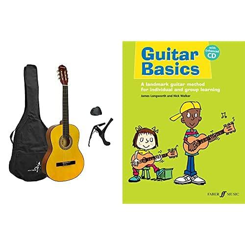 Rocket XF201AN XF Series - Guitarra española clásica (tamaño 4/4), color natural + Guitar Basics: A Landmark Guitar Method for Individual and Group Learning, Book & CD