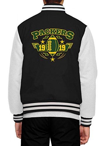 Shirt Happenz Packers Collegejacke | 1919 | Super Bowl | American Football | Herren | Baseballjacke, Farbe:Schwarz;Größe:M