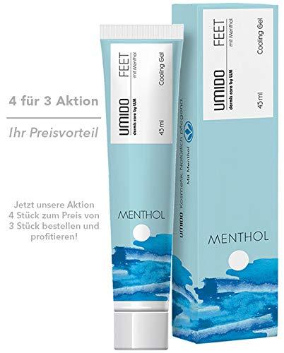 4 für 3 Aktion UMIDO Cooling-Gel 45 ml Menthol für Füße & Beine | 4 Stück kaufen aber nur 3 Stück bezahlen | Fußcreme | Fußlotion | Fußpflegecreme (2-FPF)