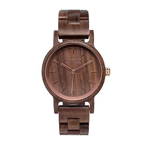 ZARTHOLZ Herren Damen Unisex Holzuhr Holz-Armbanduhr Klassik (Walnuss Roségold Damen)