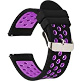 Universal 18mm 20mm 22mm 24mm Width Silicone Watch Band Replacement, Choose Size and Color (20mm, Black-Purple)