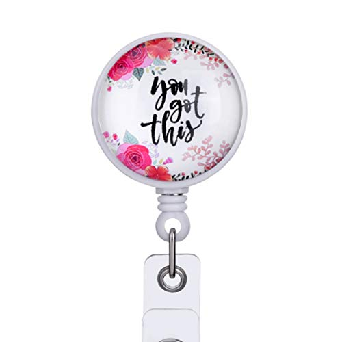 You Got This Decorative Badge Reel Retractable Badge Holder Carabiner with Alligator Clip On ID Card Holders for Girls Nurse, Students, Teachers, Office Lady, 24 inch Nylon Cord