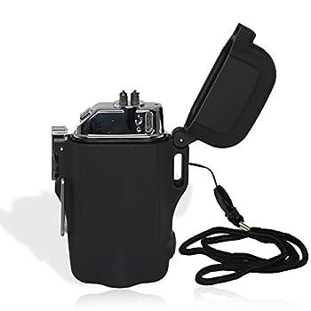 FISHTEC Briquet Torche Soft Touch - Briquet Electrique Double Arc - Rechargeable USB - Etanche IP 65 - Briquet Electronique avec Dragonne - Torche Lumière 200 Lumens - Boucle Sécurité - Noir