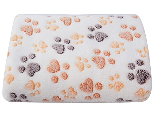 SUNLAND Super Soft Dog Blanket Premium Flannel Pet Blanket Washable and Warm Cute Paw Print Bed Cover for Dogs and Cats 30inch x 40inch