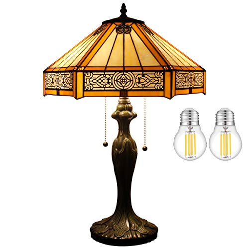 Tiffany Table Lamp W1614H24 Inch(LED Bulb Included)Bedside Desk Reading Lighting Yellow Hexagon Stained Glass Mission Style Shade Antique Base S011 WERFACTORY Lover Parent Living Room Bedroom Gifts