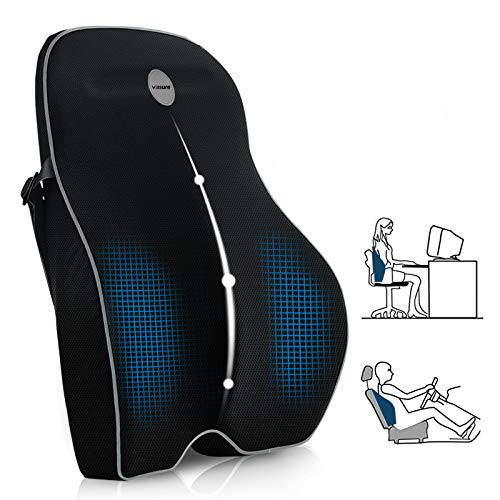 Villsure Lumbar Support Pillow, Memory Foam Back Cushion Pillow for Office Chair,Computer/Car Seat and Wheelchair with Breathable 3D Mesh ,Ergonomic Orthopedic Backrest for Back Pain Relief