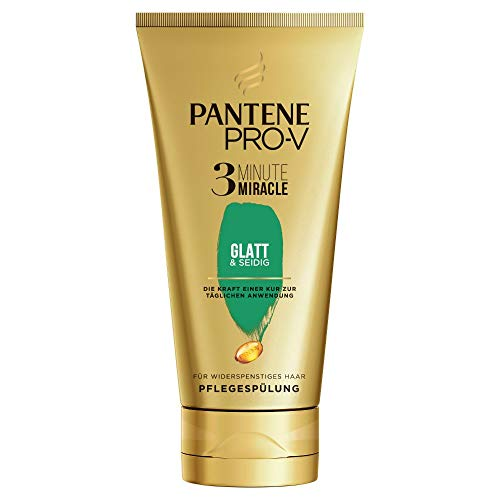 Pantene Pro-V Glatt & Seidig 3 Minute Miracle Pflegespülung Für Widerspenstiges Haar, 150ml, Conditioner, Haarpflege Glanz, Anti-Frizz Conditioner, Beauty, Gold
