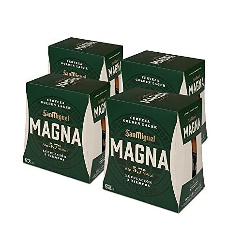 San MiguelMagna Cerveza Dorada Lager - Pack de 24 Botellas x 25 cl -5,7% de Volumen de Alcohol