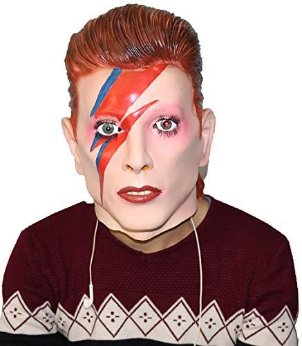 Máscara de HENGYUTOY Famosa Cantante estrella Ziggy Stardust de látex femenino máscara de cosplay disfraz masculino adulto