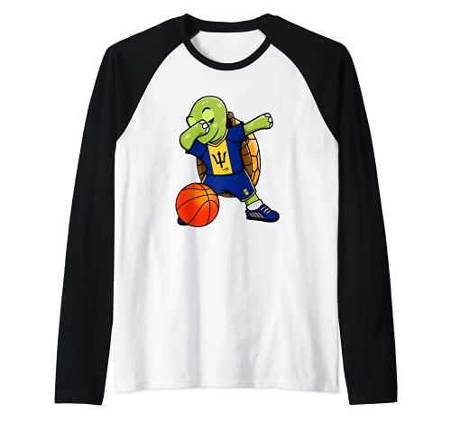 Dabbing Turtle Barbados Jersey Barbados Baloncesto Fans Art Camiseta Manga Raglan