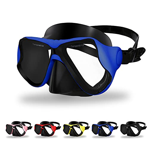 Craftend Diving Mask,Matte Finish,Anti-Fog Tempered Glass Lens Snorkeling Dive Mask,Premium Scuba Mask with Nose Cover for Snorkeling,Freediving,Swimming Matte Blue