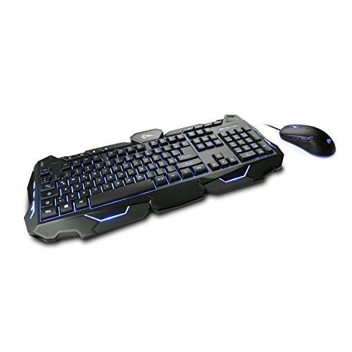 CSL Morpheus - Gaming Tastatur & Maus Set | LED-Beleuchtung | RGB | schwarz | QWERTZ-Tastenlayout | 2400 DPI