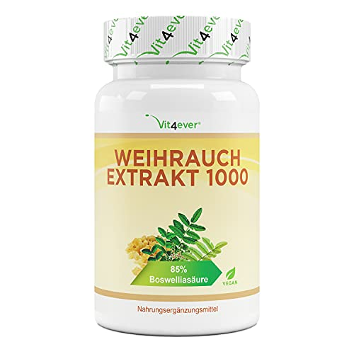 Extrait d'encens - 130 Capsules - Premium : 85% d'acide boswellique - Fortement dosé avec 1000 mg par dose quotidienne - Véritable Boswellia Serrata indien - Vegan