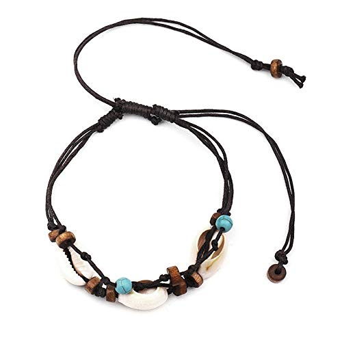 TOOGOO Boho Natural Sea Shell Stone Anklets for Women Wood Bead Seashell Ankle Bracelet On Leg Foot Chain Wax Rope Anklet Beach Jewelry