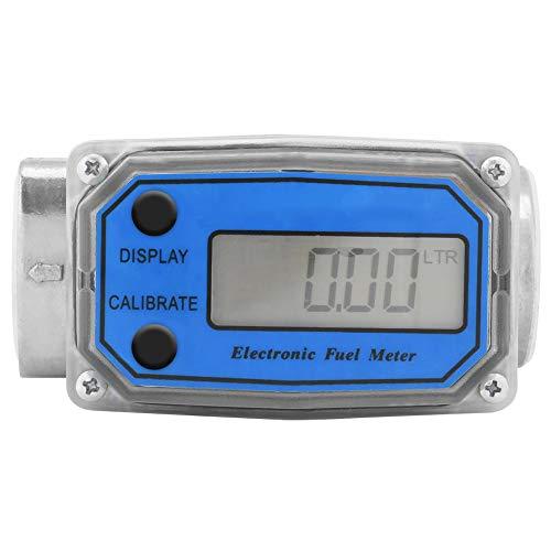 Elektronische Turbine Durchflussmesser, Kraftstoff-Durchflussmesser für Diesel Benzin Kerosin, mit Digital-LCD-Display, 1-Zoll-FNPT-Einlass/Auslass (Blau LLW-25)