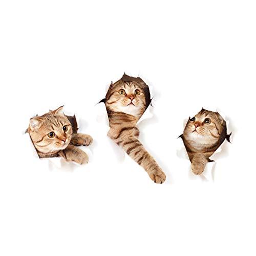 Tres Gatitos Pegatinas Pared Decorativas Animales 3D Gato Vinilos para Armarios de Infantiles Niña Niño Egatinas Pared Decorativas para Salón Dormitorio Pasillo Cocina Vinilos para Cabeceros de Cama