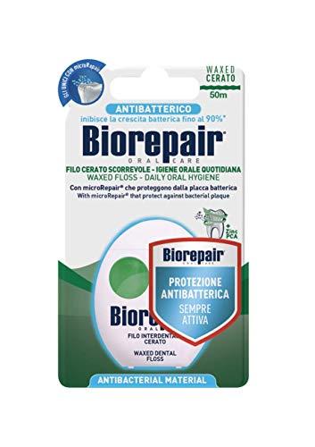Biorepair Filo Interdentale Antibatterico Cerato Scorrevole, Aroma di Menta Fresca, 1 Confezione da 50 mt