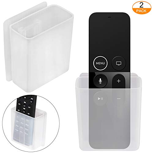 [2 Pack] Universal Remote Control Holder, Wall Mount Media Organizer - Pinowu Self-Adhesive Storage Box, Office Supply Accessories
