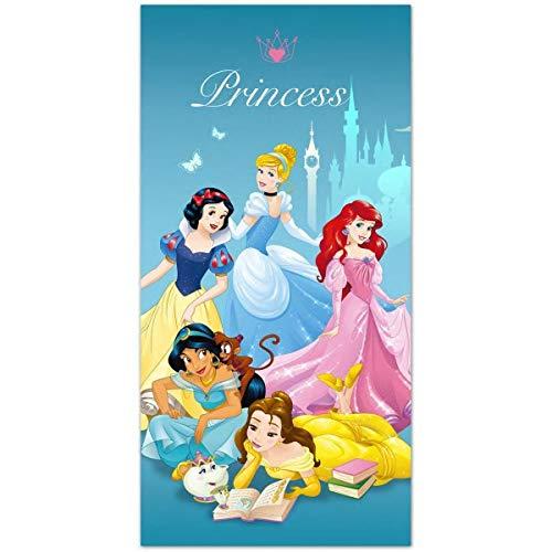 Disney - Toalla de playa (70 x 140 cm), diseño de princesas, color azul