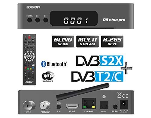 EDISION OS NINO PRO Full HD Linux E2 Combo-Receiver H.265/HEVC (1x DVB-S2/X, 1x DVB-T2/DVB-C, Multistream, Blind Scan, WLAN onboard, Bluetooth onboard, 2X USB, HDMI, LAN, Linux, Kartenleser) (Grau)