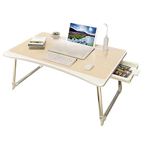 HYY-YY Laptop-Schreibtisch, zusammenklappbar, mit faltbaren Beinen und Schublade für Bett, Sofa, Boden (Farbe: Weiß, Größe: 65 x 45 cm)