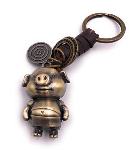 H-Customs Schwein Glücksschwein Talismann Schlüsselanhänger Anhänger aus Metall Bronze