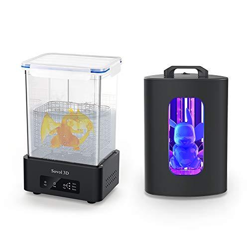 Sovol - Macchina per lavaggio e indurimento per stampanti LCD/DLP/SLA 3D, modellini in resina UV, con disco rotante e secchio per lavaggio