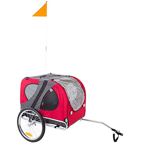 Lucky Dog Red Pull-Behind Dog Bicycle Trailer Pet Carrier
