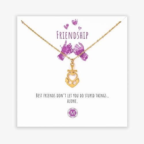 MURANDUM Geschenk Kette für echte Freunde | Friendship Necklace | Damenhalskette mit Anker Anhänger inklusive Geschenkkarte | verstellbar (Gold)