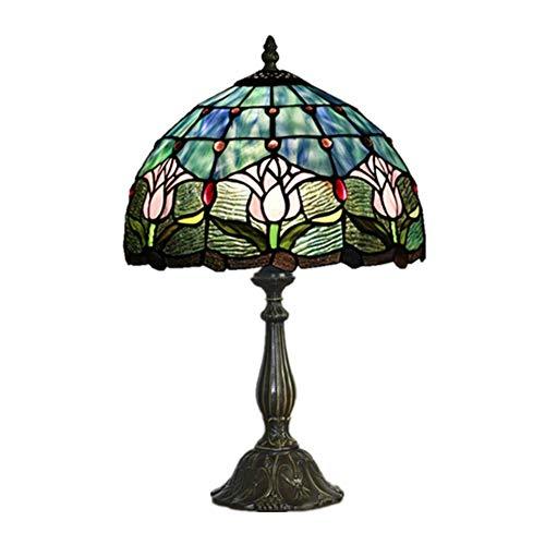 BALLYE Lámpara de Mesa Vintage Tiffany Style E26, vitral Lotus Shade Table Light Dormitorio Iluminación Aleación Holder-Touch Switch 30x49cm (Color: Regulador de Intensidad, Tamaño: 30x49cm)