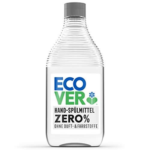 Ecover Zero - Detergente para lavavajillas (450 ml), detergente sostenible con tensidos de azúcar sin fragancia, potente desengrasante, líquido para lavavajillas con base vegetal