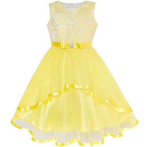 Vestido para niña Flor Amarillo Ceñido Boda Fiesta Dama de Honor 10 años