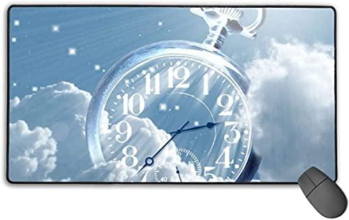 Alfombrilla de ratón para juegos, alfombrilla de ratón rectangular de goma antideslizante, alfombrilla de ratón XXL para ordenador, con reloj transparente sobre nubes, 40 x 75 cm