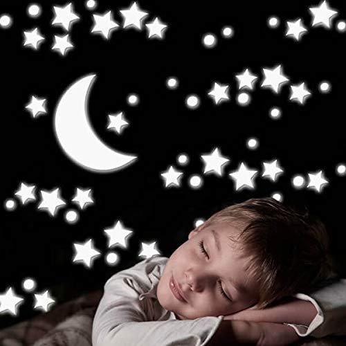 Crearreda 18003 Moderne Sticker Etoile et Lune 3D Taille L Mousse EVA Blanc 47 x 67 x 0,5 cm