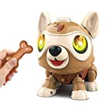 Masefu Robot Dog, DIY Electronics Pet Dog with Bone, Interactive Smart Puppy Responds to Bark Run Eat Sleep Snore Yawn with Light Music, Touch Control, Voice Control, Ideal Gift for Kids Ages 6+