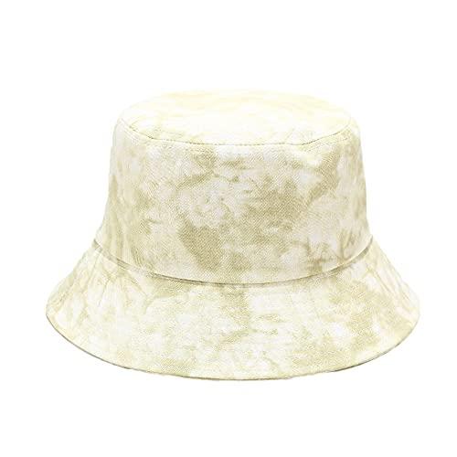 Sombrero de Sol Mujer y Hombre Sombrero de Pescador Algodón Plegable Bucket Hat Unisex Tie-Dye Cubo Sombrero Moda Gorra de Cubo Al Aire Libre Visera Anti-UV para Senderismo Viaje Camping y Playa 55