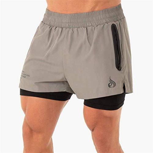 Short De Jogging Double Couche Pantalon Court Gymnases Fitness Poche Intégrée Bermuda Short De Plage À Séchage Rapide Pantalon De Survêtement pour Homme L Camelgrey
