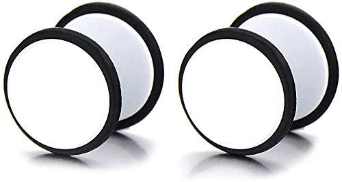 NC188 2pcs 10-12MM Pendientes de botón de Tornillo Blanco Hombres Mujeres Acero Tramposo Tapones para los oídos Falsos Calibradores Túnel de ilusión (CA) -Ancho: 12MM