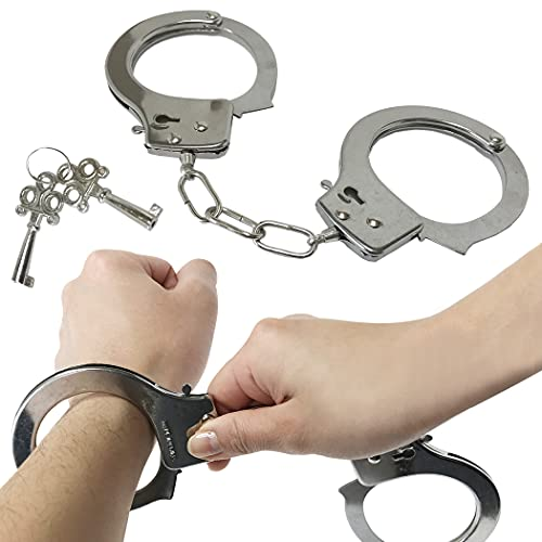 逮捕しちゃうぞ! 本物そっくり手錠 手錠 おもちゃ 鍵付き 安全装置付き 警察コスプレ 銀色 調整可能 おもし...