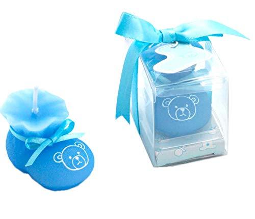 Set di 12 candele a forma di scarpetta in blu bomboniera battesimo