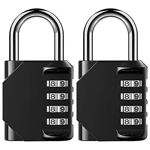 CALLA LILY Cerradura de Combinación con Contraseña de 4 Bits, Utilizada para Casillero de Gimnasio, caja de Herramientas, Puerta, Maleta, Negro, Paquetes de 2