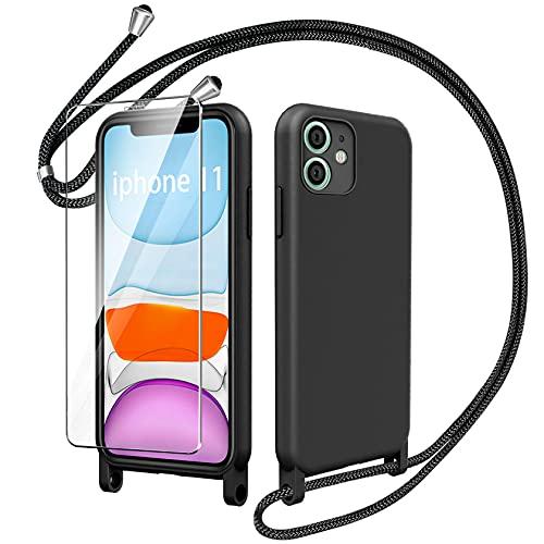 AROYI Funda Cuerda con Cristal Templado Compatible con iPhone 11, Carcasa TPU Silicona Case con Colgante Ajustable Collar Correa Cordón Negro