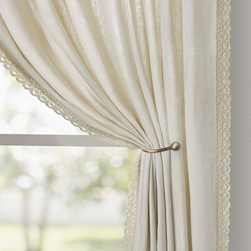 HOMEIDEAS Semi Sheer Curtains Ivory Linen Curtains 52x63 Inches Long 2 Panels Light Filtering Farmhouse Curtains for Living Room/Bedroom, Airy Pocket Boho Window Curtains/Drapes