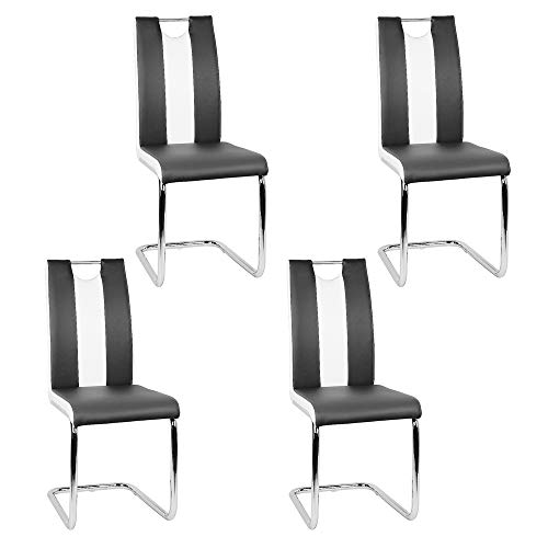 Esszimmerstuhl mit Hoher Rückenlehne, Schwingstuhl Set, 4-er Set, Schwarz + Weiß