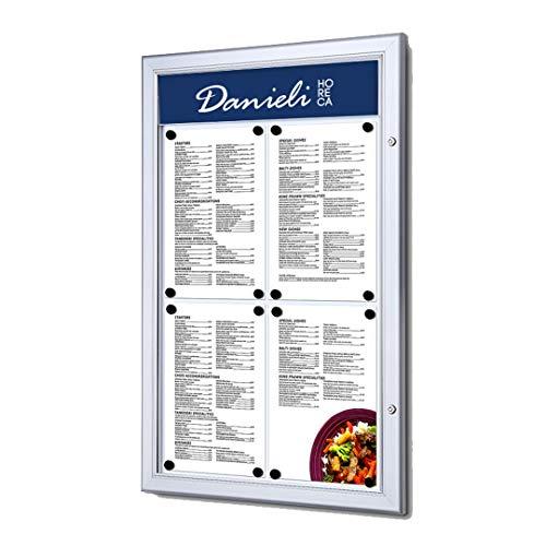 Danieli | Bacheca Magnetica con Anta Chiusura a Libro con Chiave da Muro | Bacheca per esterno con Pannellino Personalizzabile. (4x A4)