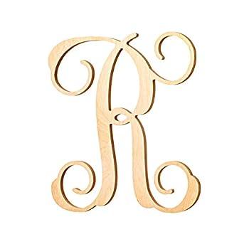 UNFINISHEDWOODCO Vine Monogram Wood Letter 13-Inch R
