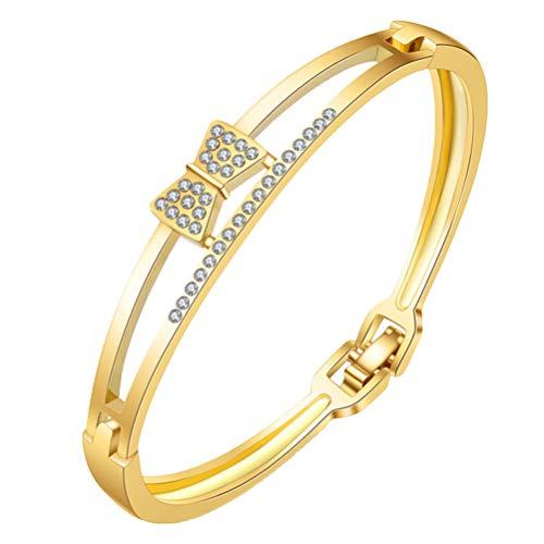 Holibanna Rhinestone Bracelet Diamond Mini Bowknot Golden Bracelet Fashion Bangle Cuff Bracelet Watch Wristband for BBT Birthday Gift