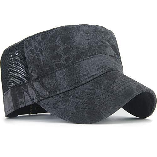 Rayna Fashion Mesh Snake Camouflage Camo Cadet Army Cap Adjustable USA American Flag Military Hat Flat Top Baseball Sun Cap Black Python